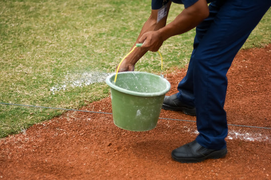 drawing a line for a Softball field