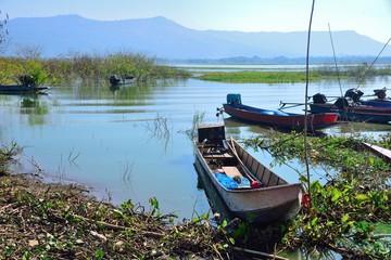 Boats fishing in Lam Ta Khong dam, Pak Chong District, Nakhon Ratchasima Province ,Thailand