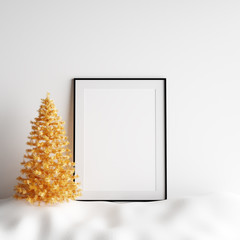 Mock Up Poster Frame Interior White Christmas Winter Decoration