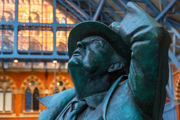 The Betjeman statue at St. Pancras Station in London, UK