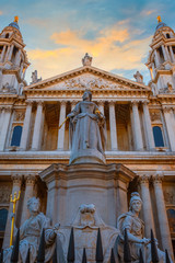 Statue of Queen Anne at St Paul's Cathedral in London, UK