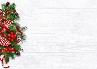 Greeting holiday card. Christmas decorations on white wood background
