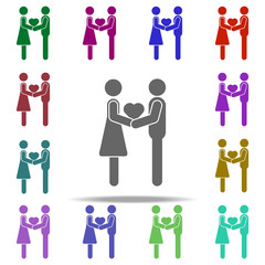 Couple holding hands and heart icon. Elements of People in love in multi color style icons. Simple icon for websites, web design, mobile app, info graphics