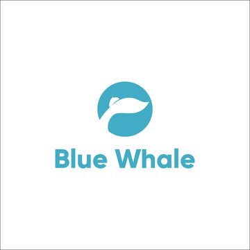 blue whale's tail vector logo