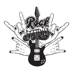 Vector hand drawn illustration of guitar, rock hands  and handwritten lettering. Tattoo artwork.  Template for card, poster, banner, print for t-shirt, label.