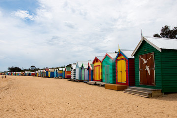 Brighton Bathing Boxes Line the Beach in Melbourne, Victoria, Australia