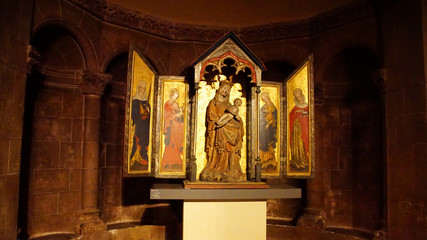 Baldachin triptych altarpiece of Madonna and child Wall mural