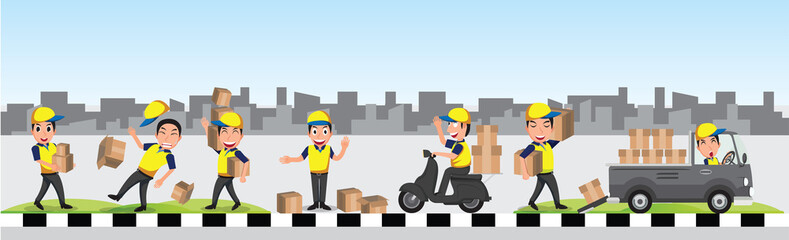 delivery man with yellow blue uniform