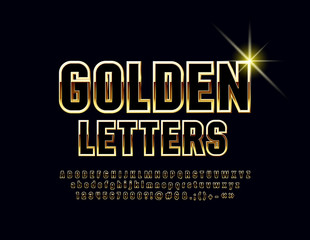 Vector chic Bright Font. Black and Golden Alphabet Letters, Numbers and Symbols.