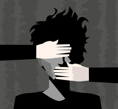 sad man with eyes and mouth covered by hands