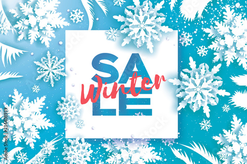 winter super sale banner merry christmas and happy new year card white paper cut