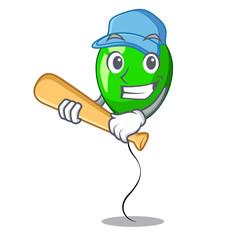 Playing baseball green balloon cartoon Birthday very funny