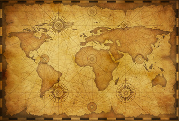 Old world map in vintage style. Elements of this image furnished by NASA.