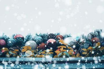Foto op Canvas Kerstmis christmas background, xmas decoration and winter concept