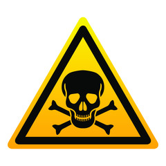 Icon danger. Isolated yellow triangle sign skull with bones on white background. Vector illustration.