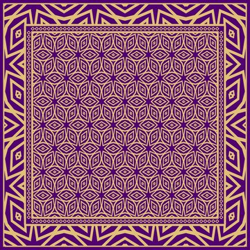 Template Print for Fabric. Pattern of floral geometric ornament with Border. illustration. Seamless. For Print Bandana, Shawl, Carpet.
