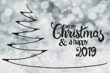 Tree, Merry Christmas And A Happy 2019, Gray Background