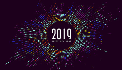 Colorful radial pattern New Year background.
