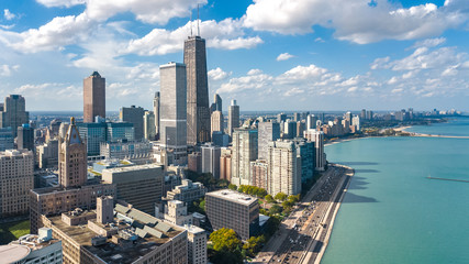 Wall Mural - Chicago skyline aerial drone view from above, lake Michigan and city of Chicago downtown skyscrapers cityscape, Illinois, USA