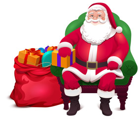 Santa Claus sit in chair and give bag gifts