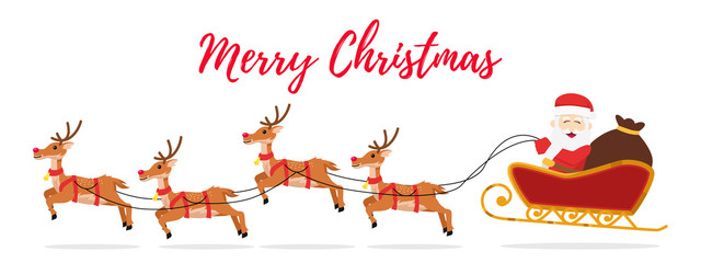 Christmas banner with flying santa with reindeer. vector illustration