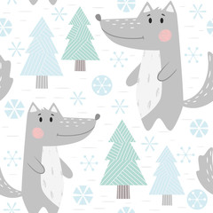 Wolf baby winter seamless pattern. Cute animal in snowy forest christmas print.