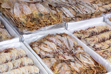 Dried seafood in the local market in Hue, Vietnam.
