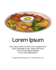 Vertical banner with color ramen and place for the text on white background. Vector template for menus, cards, recipes and your design.