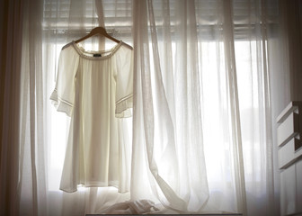 Dress in White Curtains