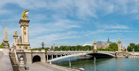 Pont Alexandre III bridge (1896) over river Seine in Paris, France, panoramic view