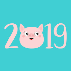 2019 pink text. Cute pig face head. Piggy piglet. Happy New Year Chinise symbol. Cartoon funny kawaii smiling baby character. Flat design. Blue background. Isolated.