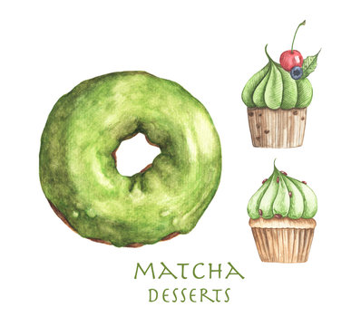 Set of Matcha desserts, Donut and Cupcakes isolated on white background. Watercolor illustration.