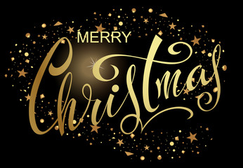 Merry Christmas! Festive congratulatory poster with a lettering on a black background with gold stars.