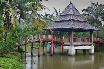 asian house bridge on the river