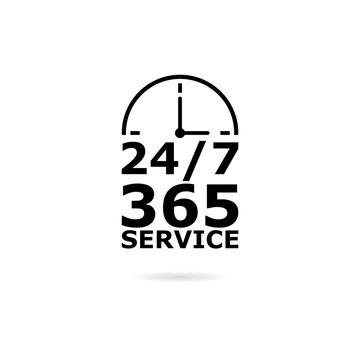 Black Open 24/7 - 365, 24/7 365 icon or logo