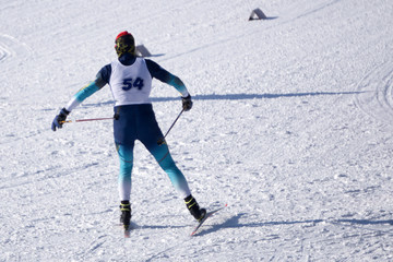cross-country skiing skier sky snow sport track,