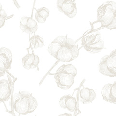 Seamless cotton pattern on white background. Ideal for wrapping paper, greeting cards, textile, wallpapers and decorations. Vector design