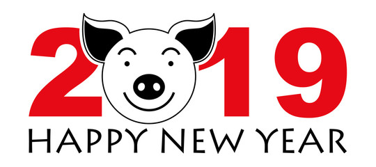 Pig. Happy New Year! Symbol of the year 2019. Logo. Vector image.