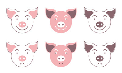 Pig. Seamless vector pattern. Symbol of the year 2019. Smilies.