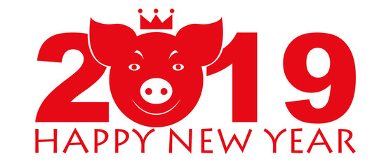 Pig. Symbol of the year 2019. Pets. Smilies animals. Set of vector images.
