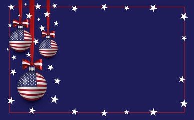 Vector christmas and new year template background with balls and american flag. USA patriotic christmas background Wall mural