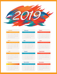 2019 yearly wall calendar design with abstract brush stroke.