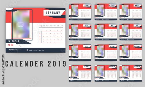 2019 Calendar Design Set Of 12 Months Template Style Desk Planner
