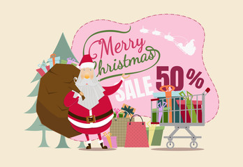Santa Claus with Gift Box On christmas day.Background for Christmas Sale.