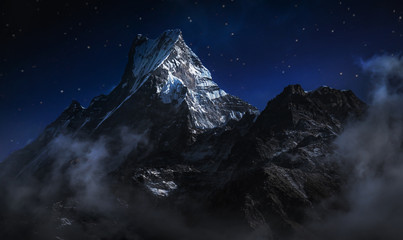 Machapuchare at night. A mountain in the Annapurna Himalayas of north central Nepal. Digitally editing image