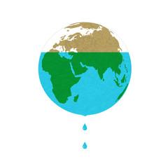 Концептуальная иллюстрация на белом фоне на тему экономии водных ресурсов с изображением планеты Земля, из которой капает вода. Экология, водные ресурсы, экологическая катастрофа.