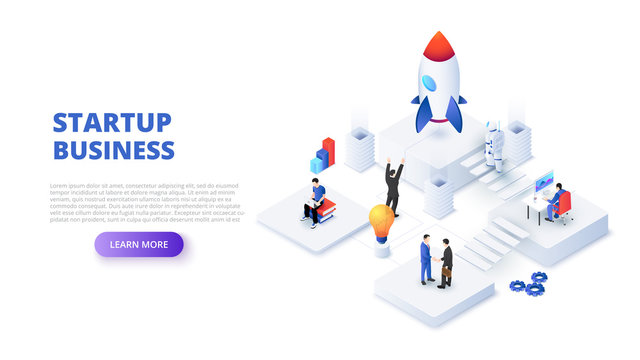 Startup business design concept with people, rocket and astronaut. Isometric vector illustration. Landing page template for web.