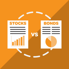 Stocks versus bonds infographic
