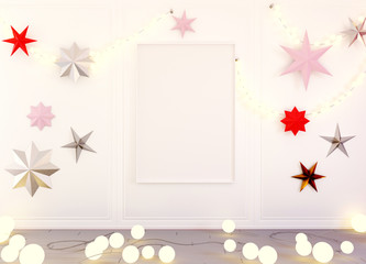 Interior mockup 3d with christmas decoration and lights