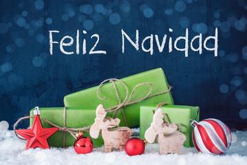 Green Christmas Gifts, Snow, Feliz Navidad Means Merry Christmas